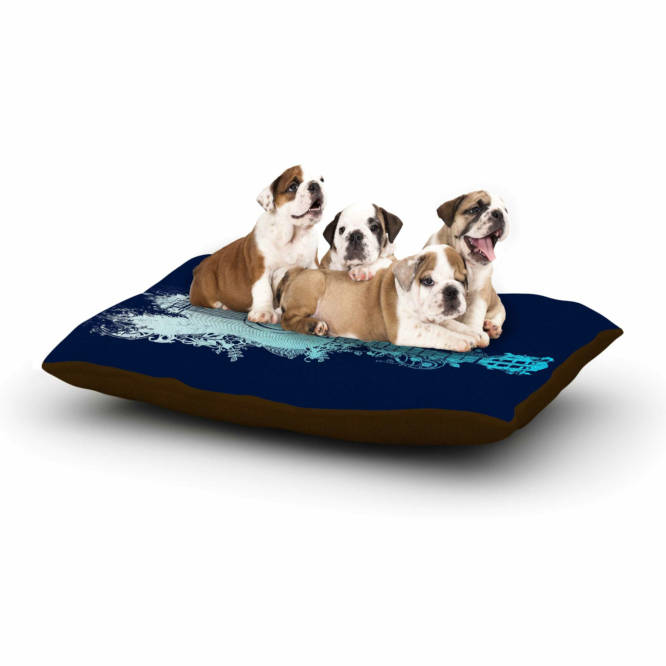 Frederic Levy-Hadida 'Nature Tune' Music Dog Pillow with Fleece Cozy Top Color: Blue/Aqua