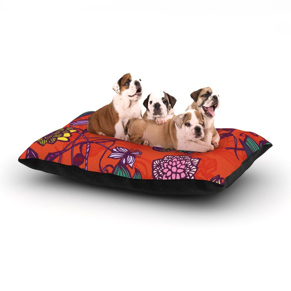 Gill Eggleston 'Garden Blooms Hot Orange' Floral Dog Pillow with Fleece Cozy Top Size: Small (40