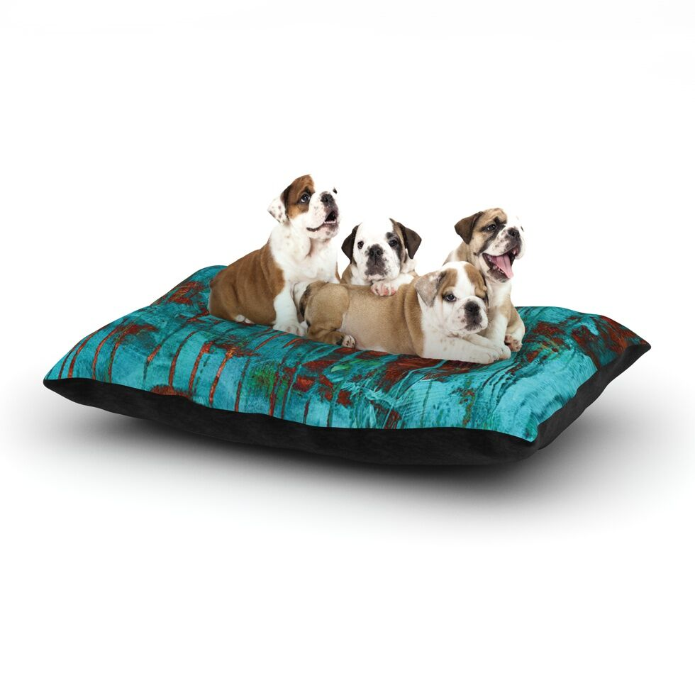 Iris Lehnhardt 'Rusty Teal' Paint Dog Pillow with Fleece Cozy Top Size: Small (40