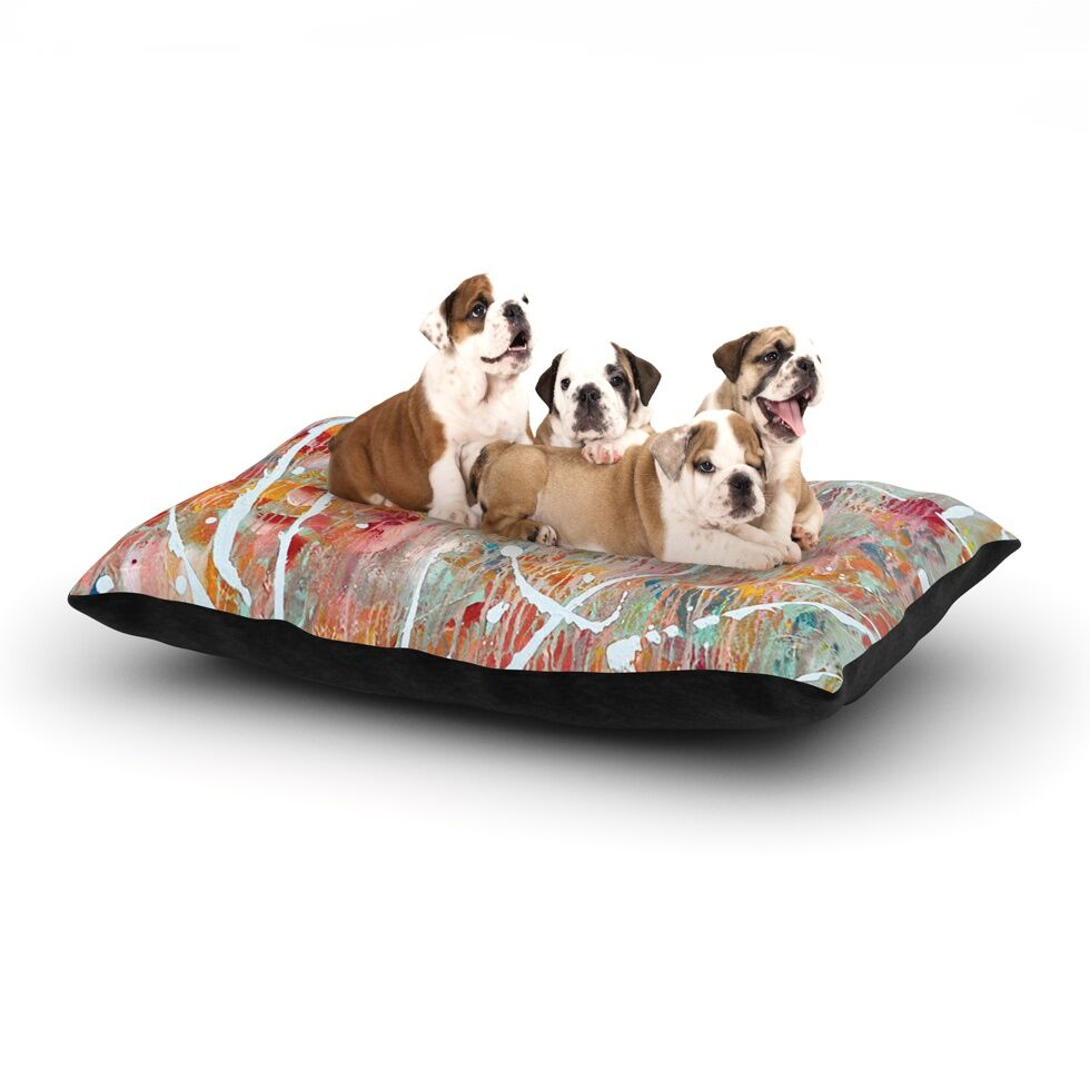 Iris Lehnhardt 'Joy' Splatter Paint Dog Pillow with Fleece Cozy Top Size: Small (40