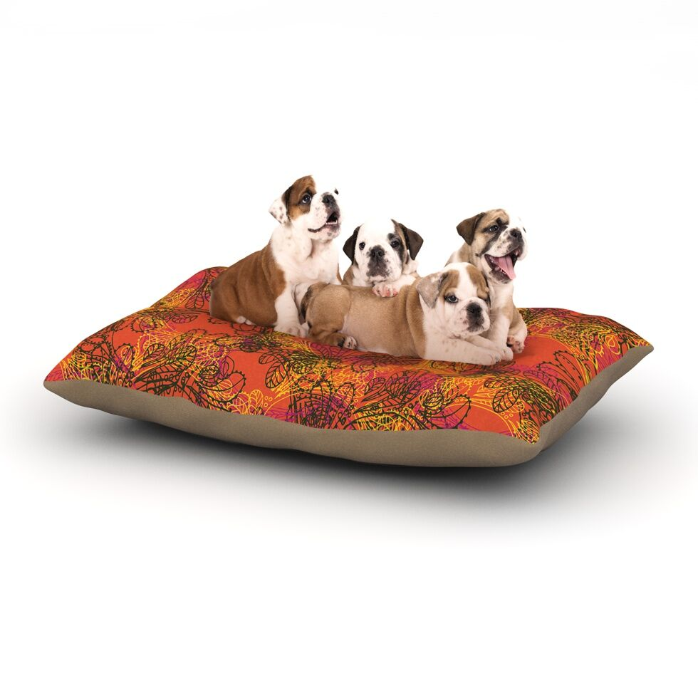 Patternmuse 'Jaipur Orange' Dog Pillow with Fleece Cozy Top Size: Small (40