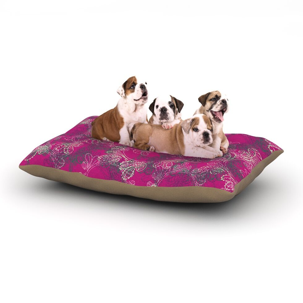 Patternmuse 'Jaipur Berry' Dog Pillow with Fleece Cozy Top Size: Small (40