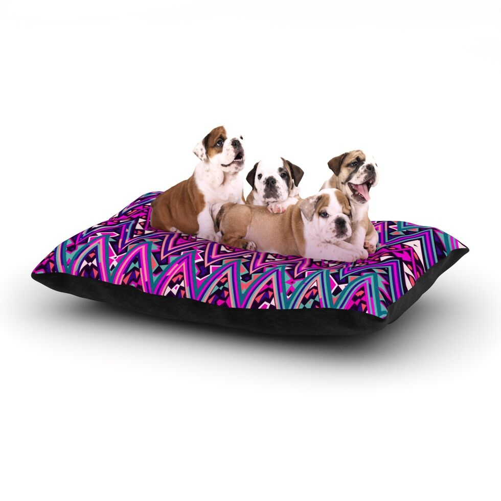Nika Martinez 'Pink Electric Chevron' Dog Pillow with Fleece Cozy Top Size: Small (40