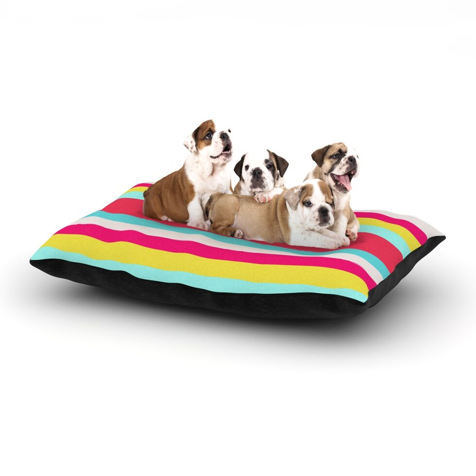 Nika Martinez 'Girly Surf Stripes' Dog Pillow with Fleece Cozy Top Size: Small (40