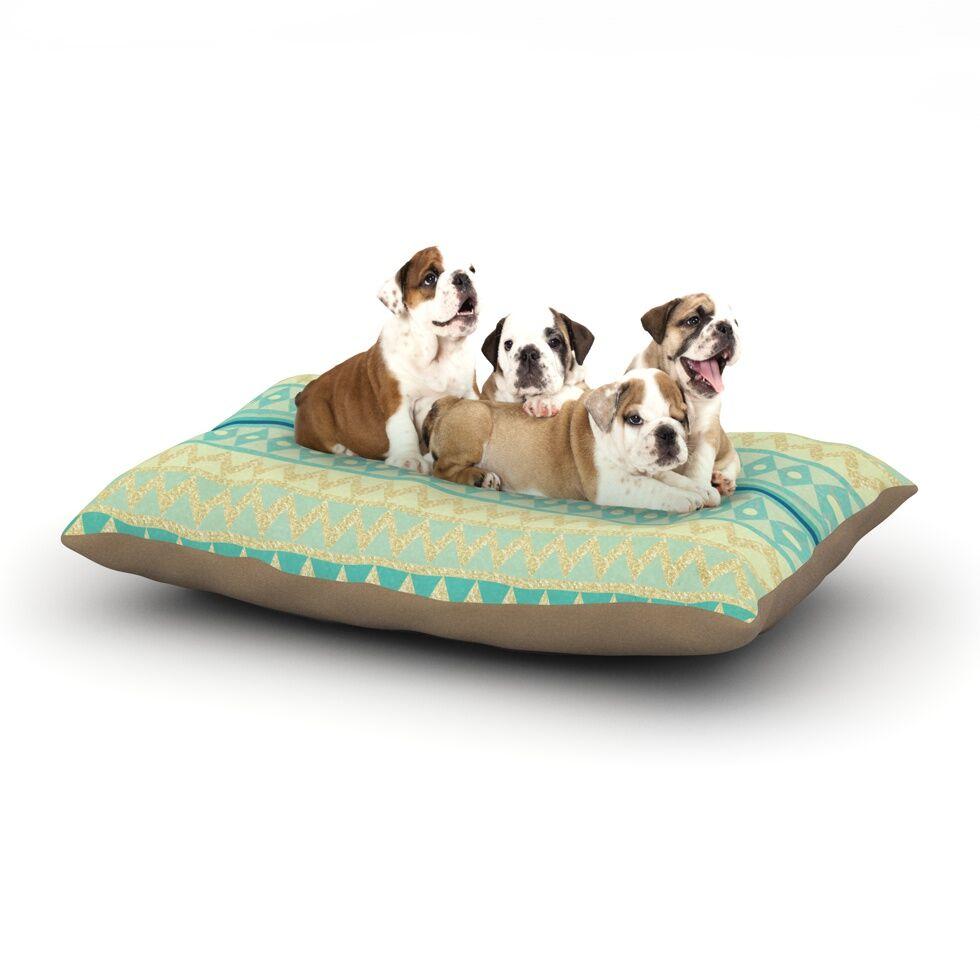 Nika Martinez 'Glitter Chevron in Teal' Dog Pillow with Fleece Cozy Top Size: Small (40