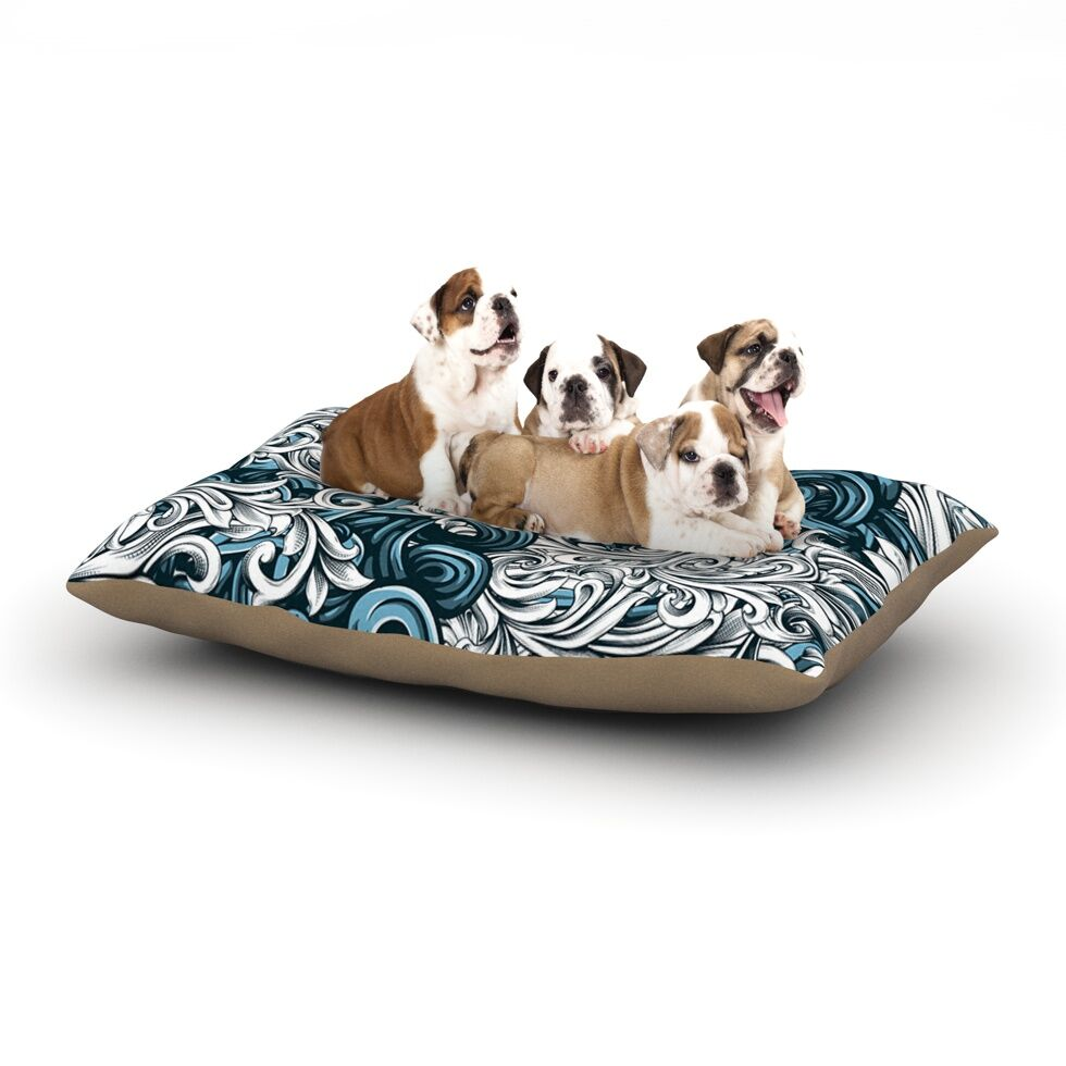 Nick Atkinson 'Celtic Floral II' Abstract Dog Pillow with Fleece Cozy Top Size: Small (40