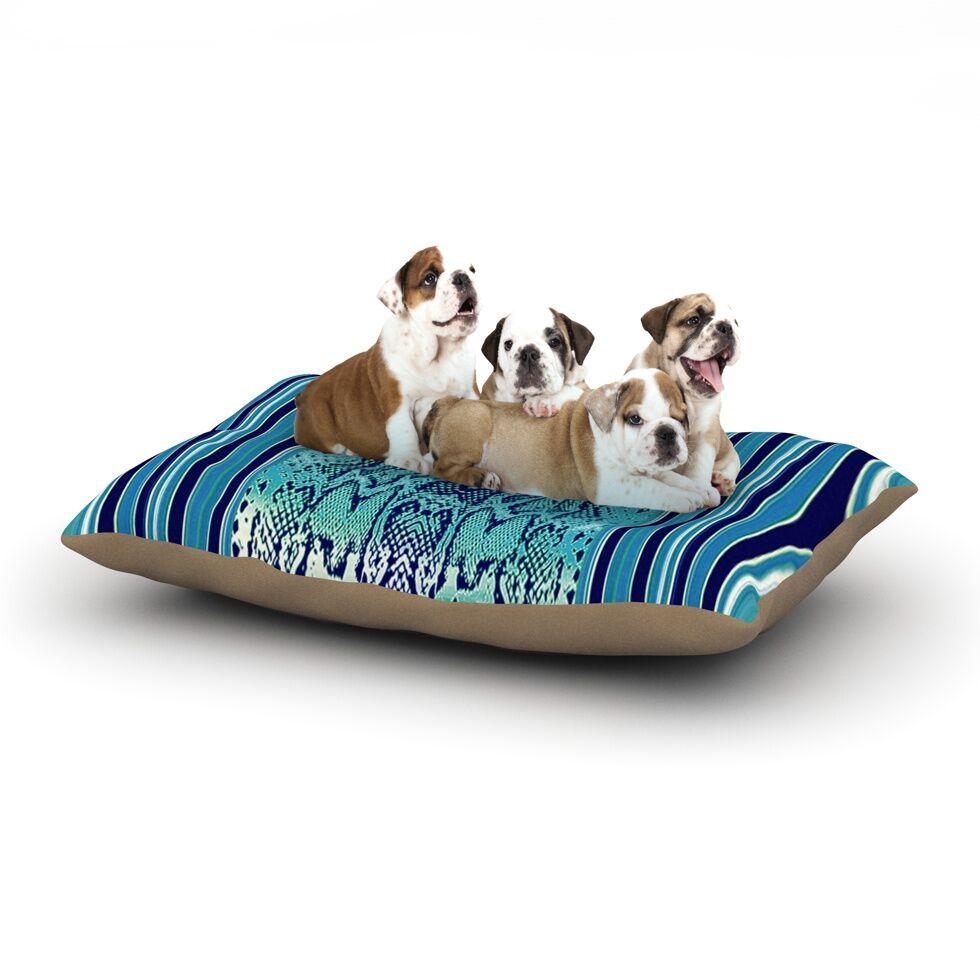 Nina May 'Aqua Snake' Dog Pillow with Fleece Cozy Top Size: Small (40