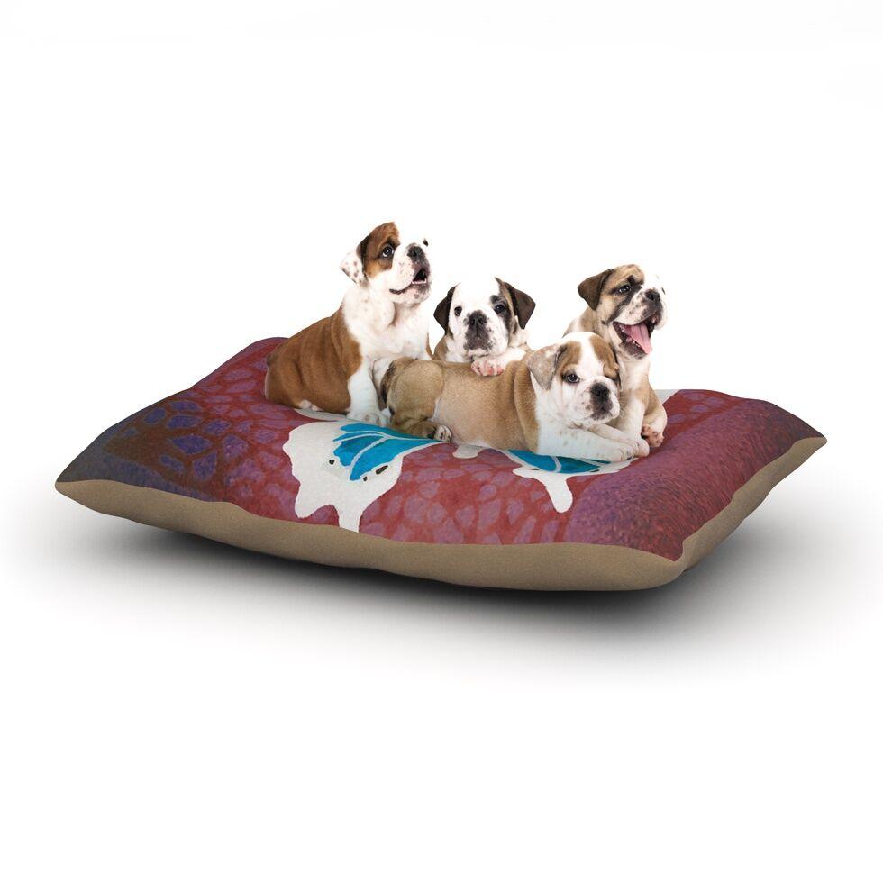 Padgett Mason 'Teal Flutter' Dog Pillow with Fleece Cozy Top Size: Small (40