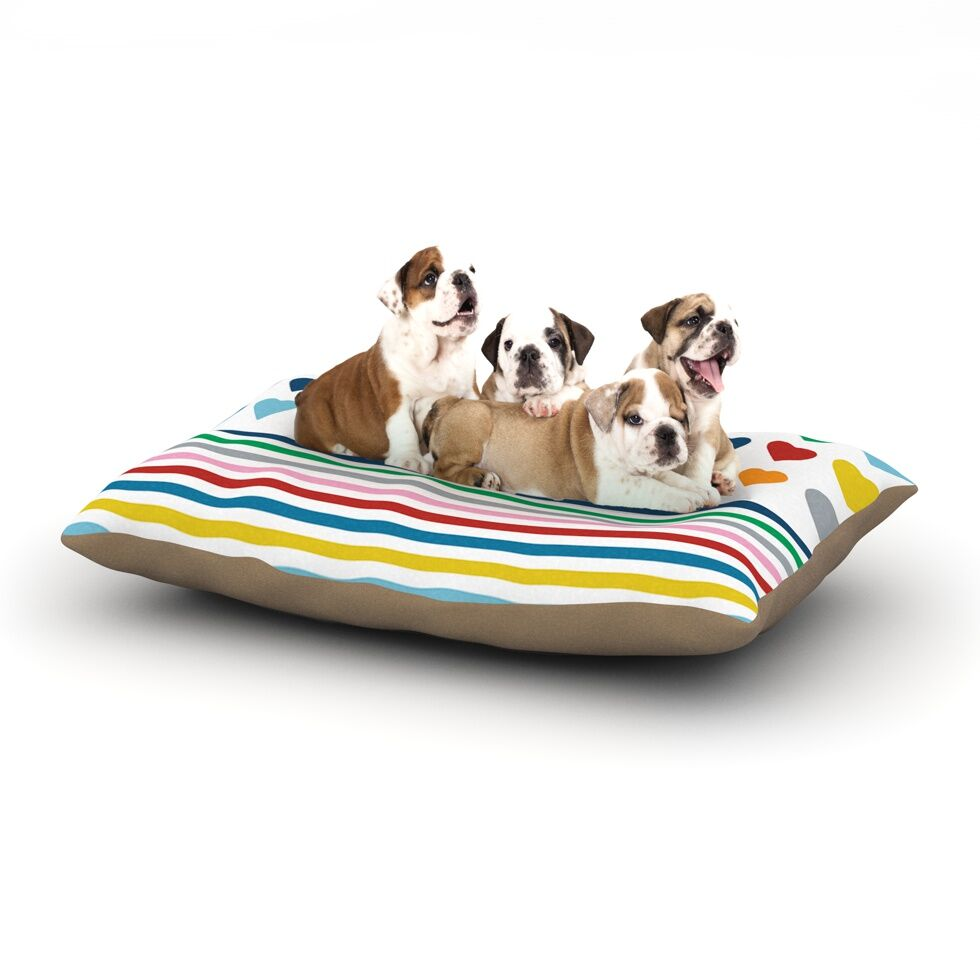 Project M 'Heart Stripes' Monochrome Lines Dog Pillow with Fleece Cozy Top Size: Small (40