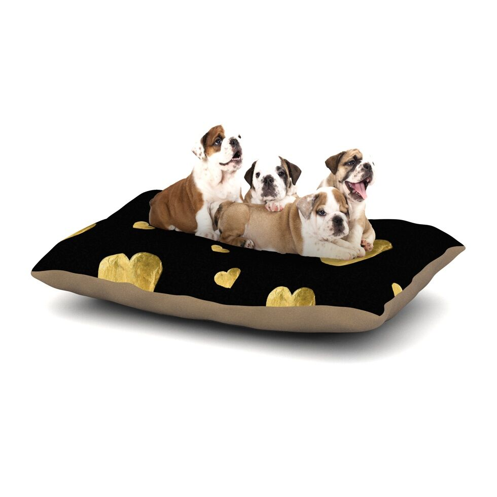 Robin Dickinson 'Floating Hearts' Dog Pillow with Fleece Cozy Top Size: Small (40