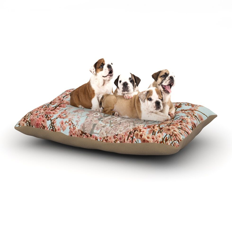 Robin Dickinson 'In Heaven' Cherry Blossom Dog Pillow with Fleece Cozy Top Size: Small (40