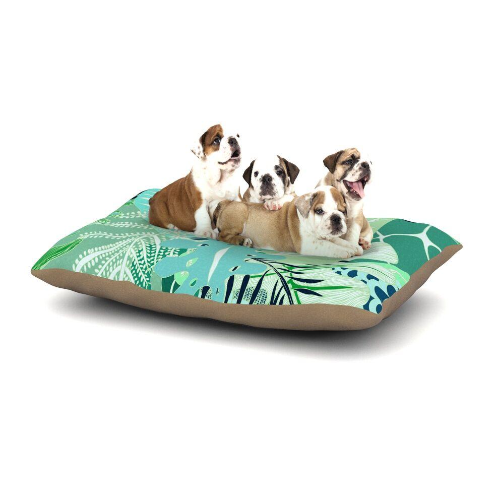 Anchobee 'Giungla' Floral Dog Pillow with Fleece Cozy Top Size: Small (40