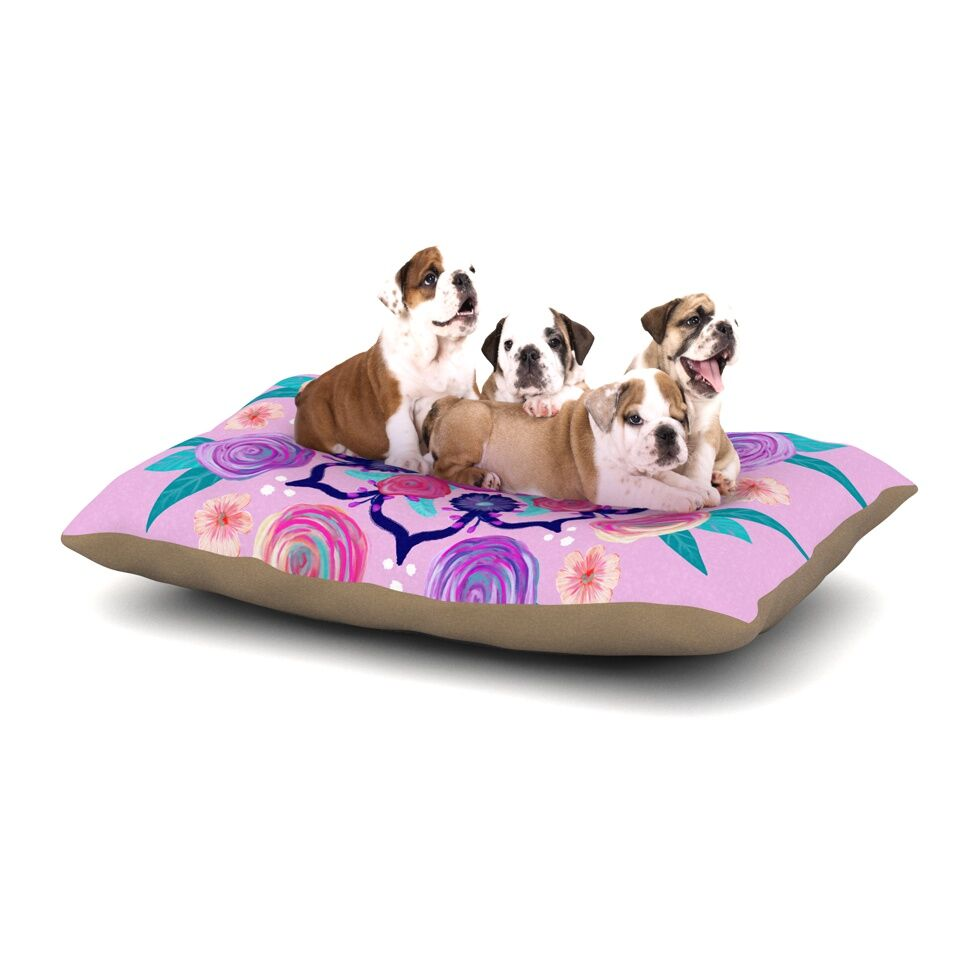 Anneline Sophia 'Expressive Blooms Mandala' Floral Dog Pillow with Fleece Cozy Top Size: Small (40