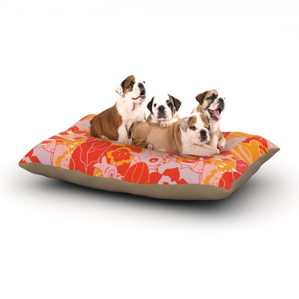 Akwaflorell 'Fishes Here, Fishes There' Dog Pillow with Fleece Cozy Top Size: Small (40