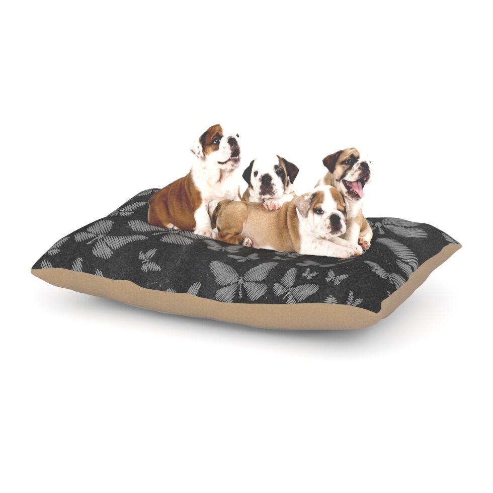 Snap Studio 'Butterflies III' Chalk Dog Pillow with Fleece Cozy Top Size: Small (40