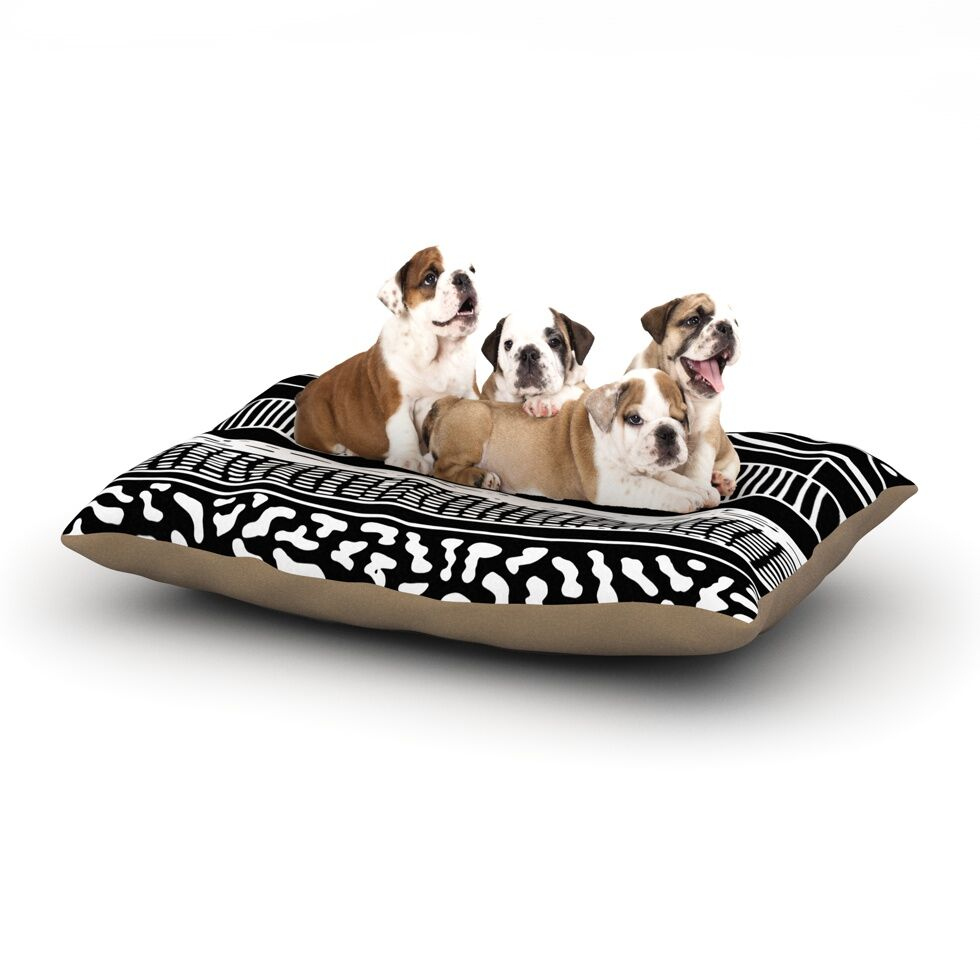 Vasare Nar 'Abiodun Tribal' Dog Pillow with Fleece Cozy Top Size: Small (40