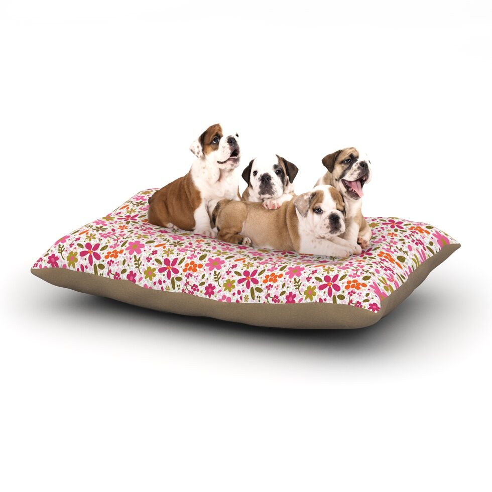 Carolyn Greifeld 'Pink Flowers Garden' Dog Pillow with Fleece Cozy Top Size: Small (40
