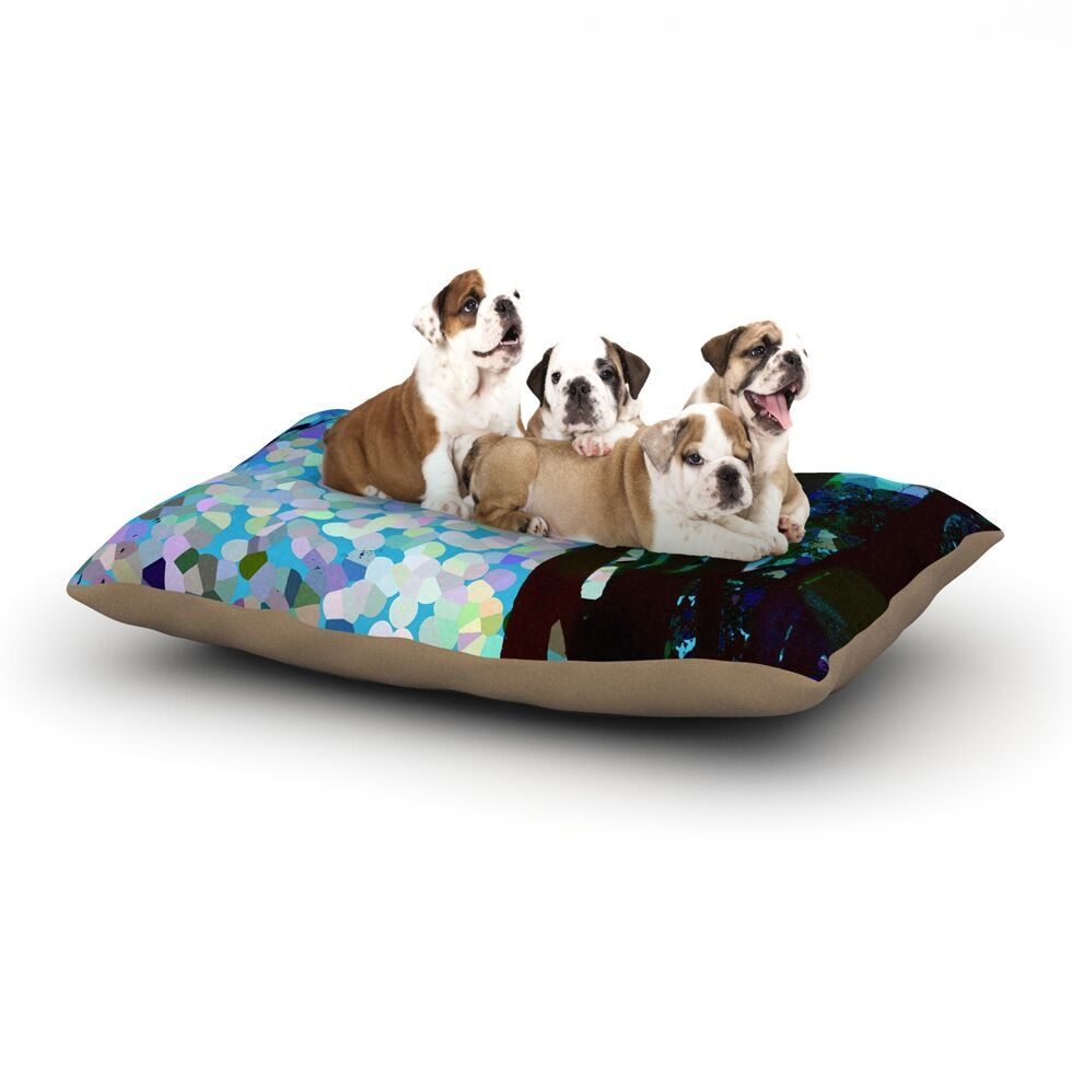 Catherine Holcombe 'Blue Raspberry Jellybean' Geometric Dog Pillow with Fleece Cozy Top Size: Small (40