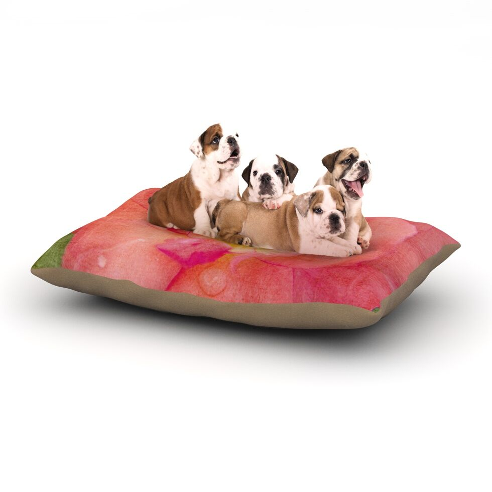 Catherine McDonald 'Pink Rose' Flower Dog Pillow with Fleece Cozy Top Size: Small (40