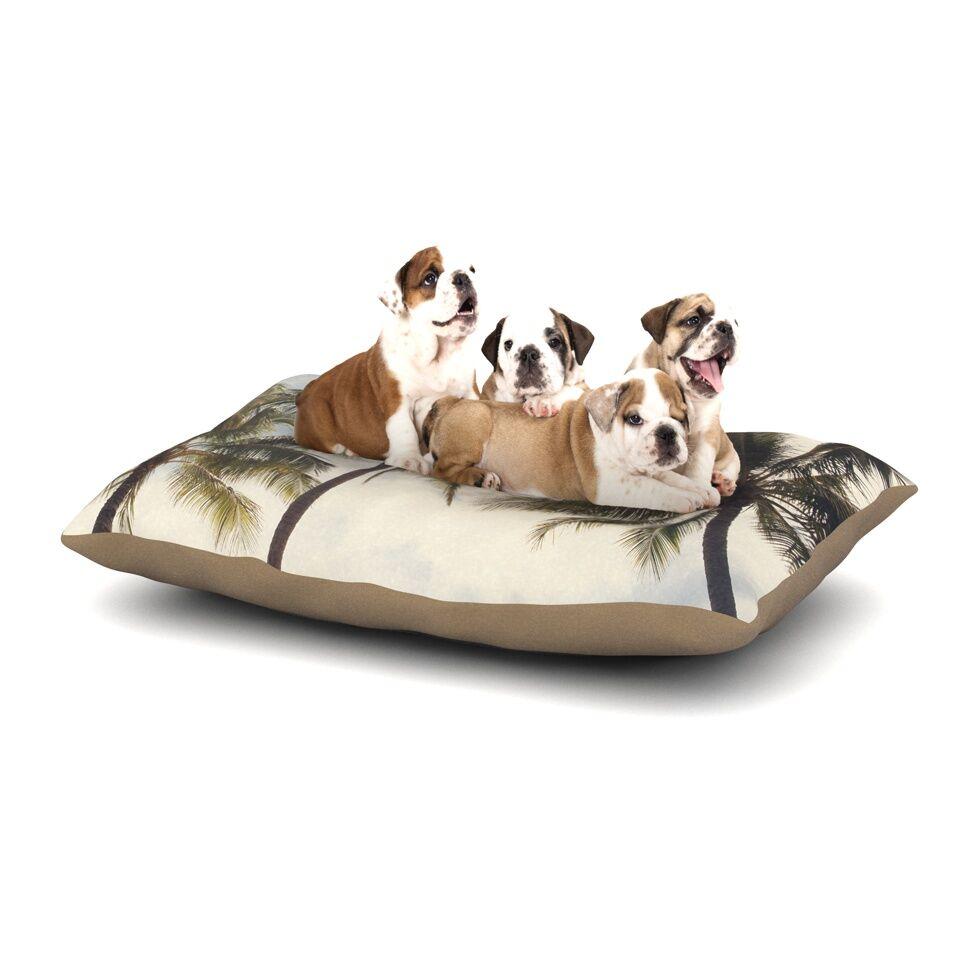 Catherine McDonald 'Boho Palms' Coastal Trees Dog Pillow with Fleece Cozy Top Size: Small (40