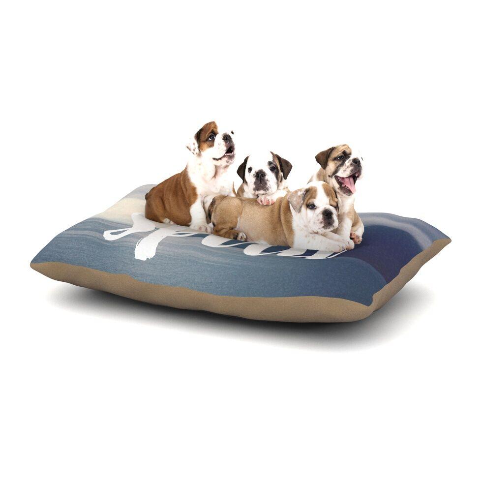 Catherine McDonald 'Free Spirit' Coastal Typography Dog Pillow with Fleece Cozy Top Size: Small (40