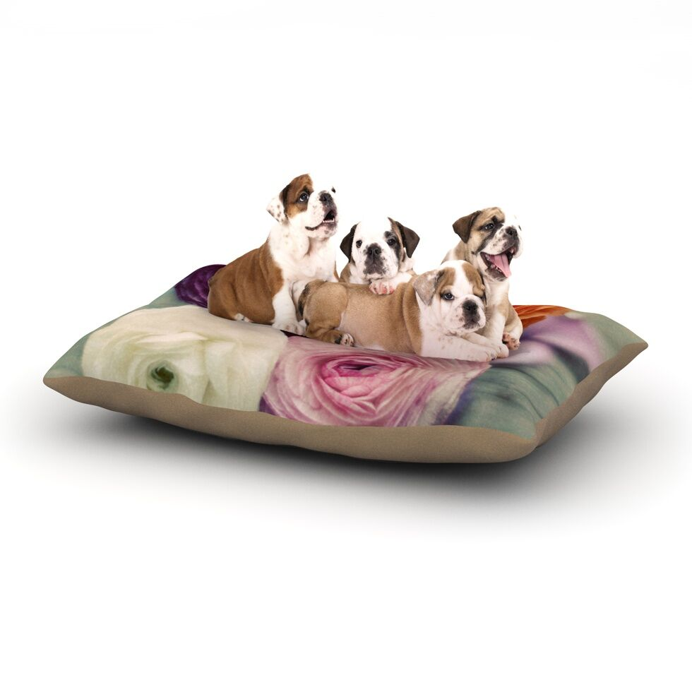 Cristina Mitchell 'Four Kinds of Beauty' Roses Dog Pillow with Fleece Cozy Top Size: Small (40