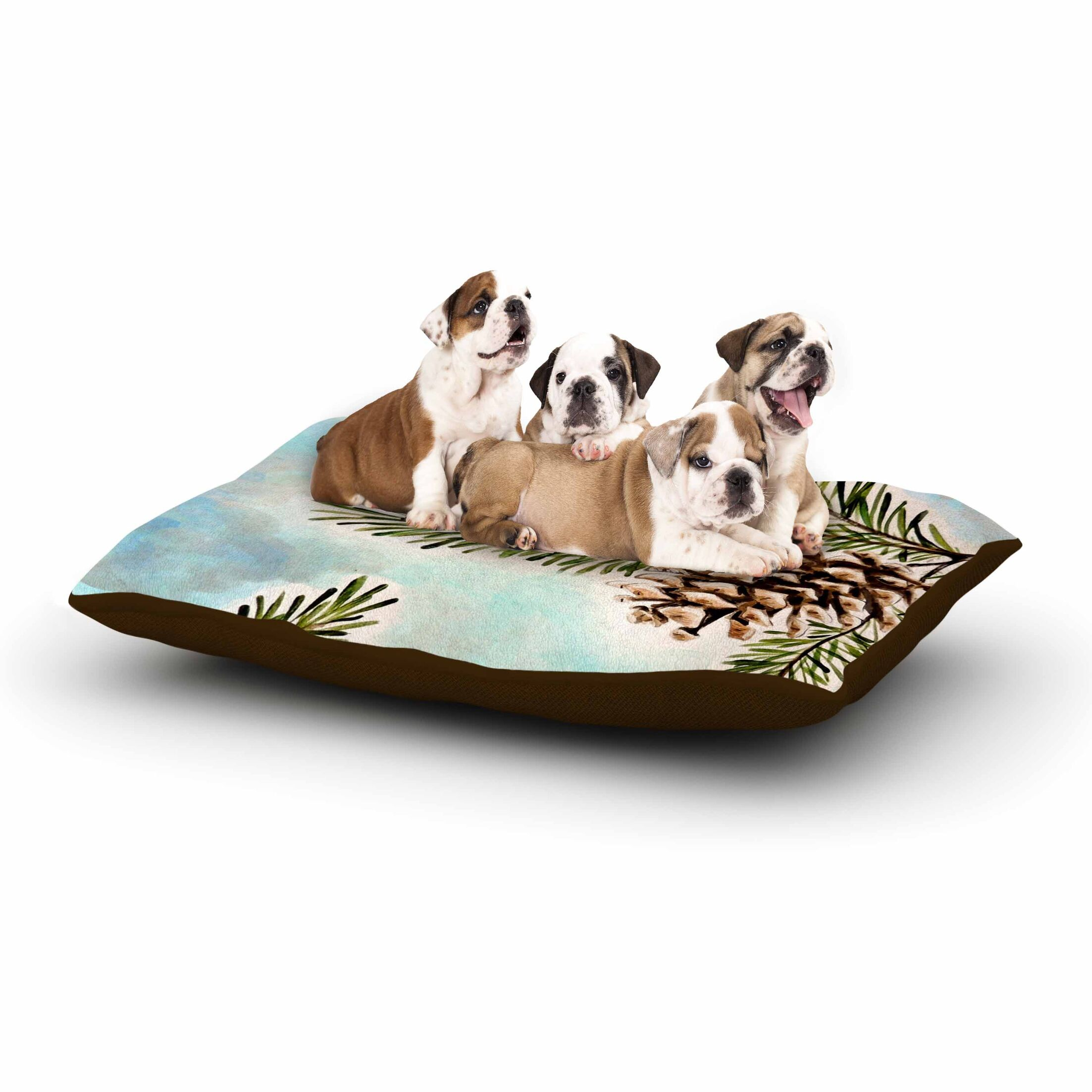 Christen Treat 'Pinecones and Sky' Dog Pillow with Fleece Cozy Top