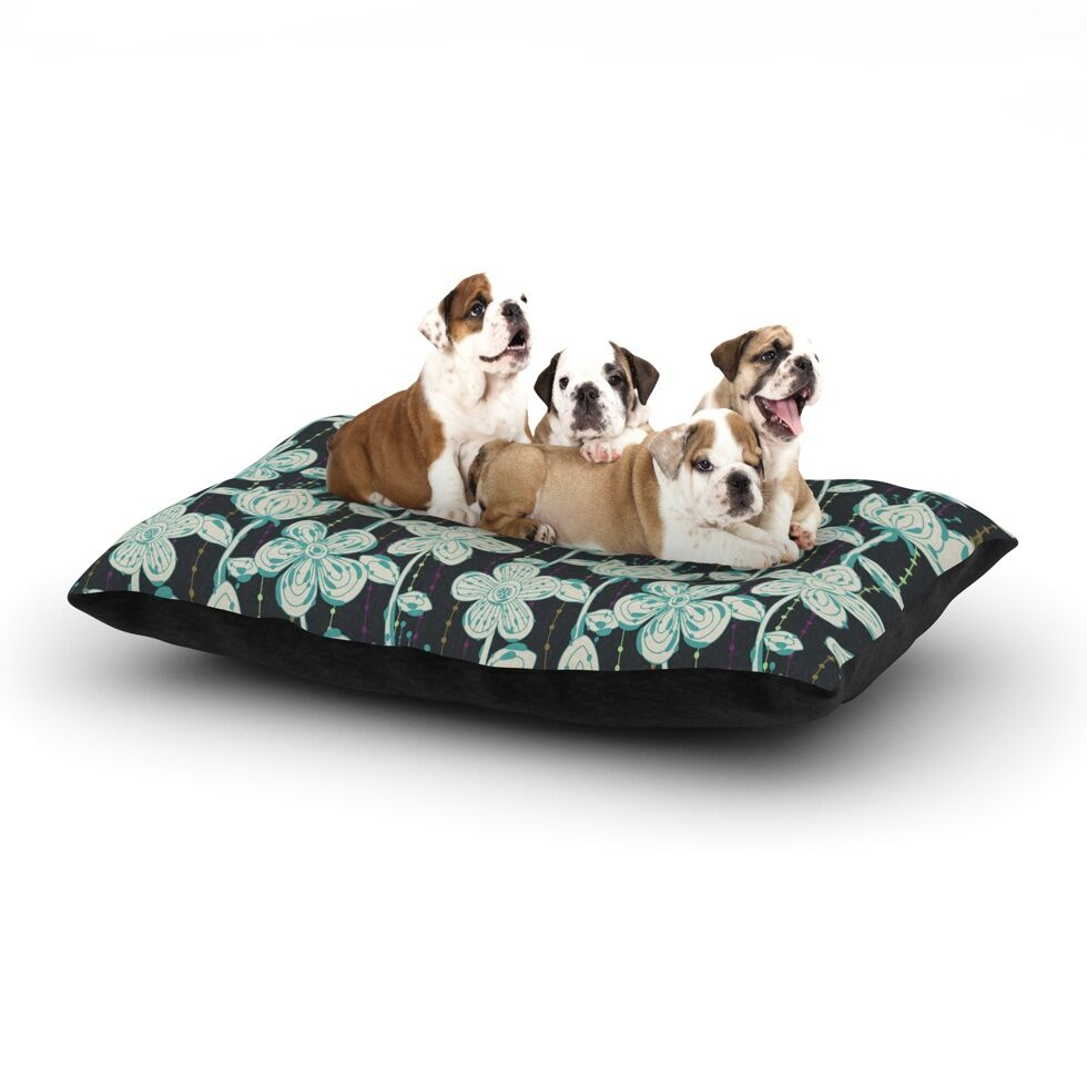 Julia Grifol 'My Grey Spotted Flowers' Dog Pillow with Fleece Cozy Top Size: Small (40