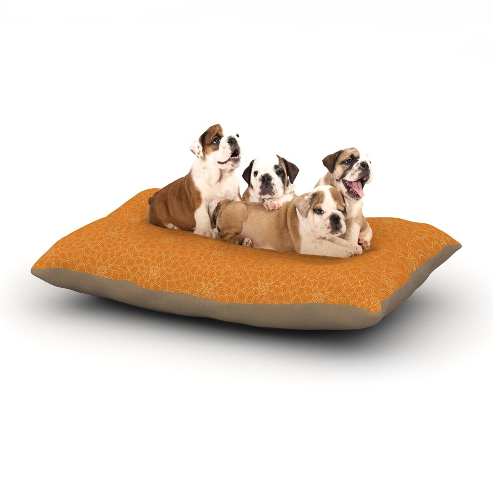Julia Grifol 'Orange Flowers' Dog Pillow with Fleece Cozy Top Size: Small (40