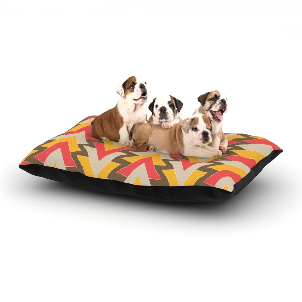 Julia Grifol 'My Triangles' Dog Pillow with Fleece Cozy Top Size: Small (40