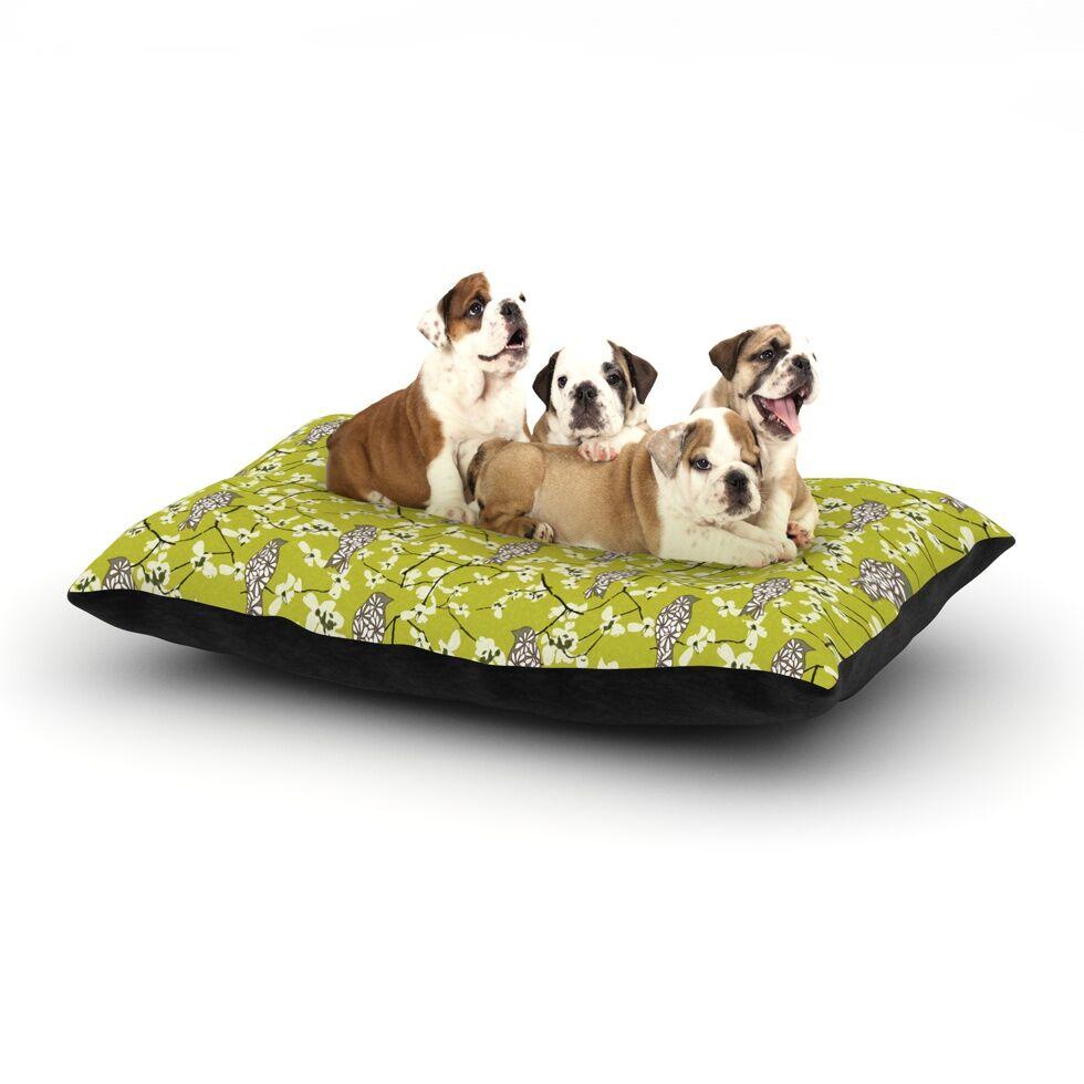 Julie Hamilton 'Blossom Bird' Dog Pillow with Fleece Cozy Top Size: Small (40