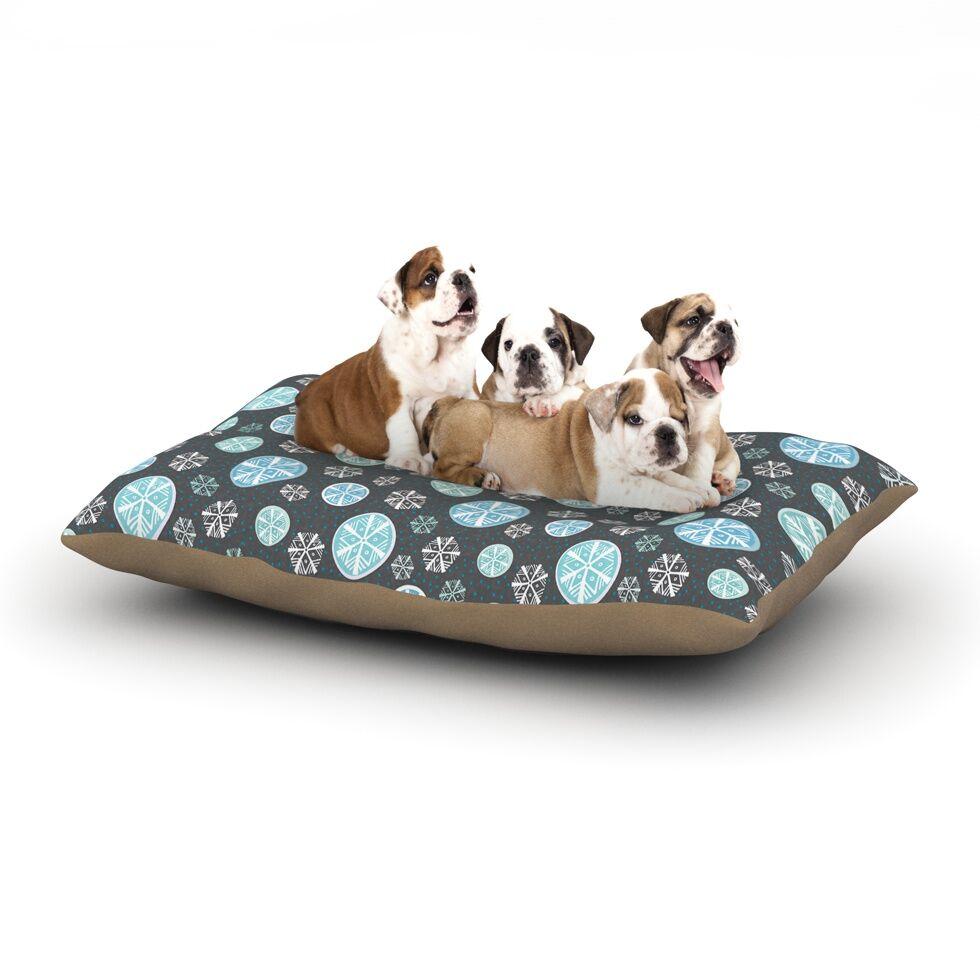 Julie Hamilton 'Midnight Snow' Winter Dog Pillow with Fleece Cozy Top Size: Small (40