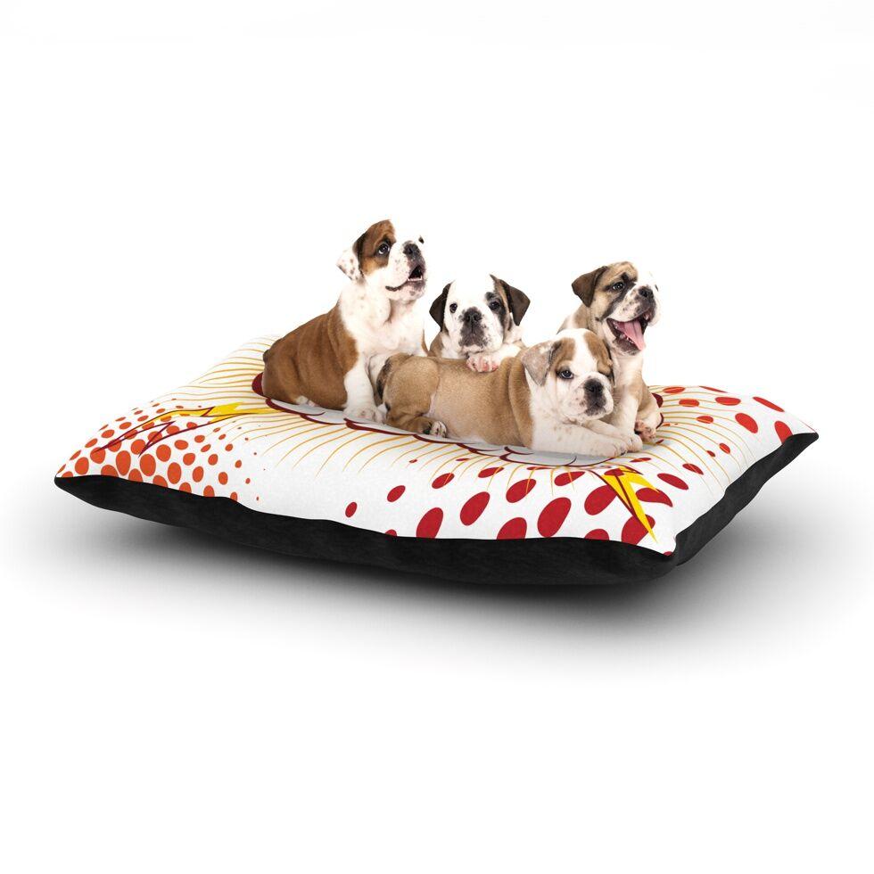 'POW!' Cartoon Dog Pillow with Fleece Cozy Top Size: Small (40