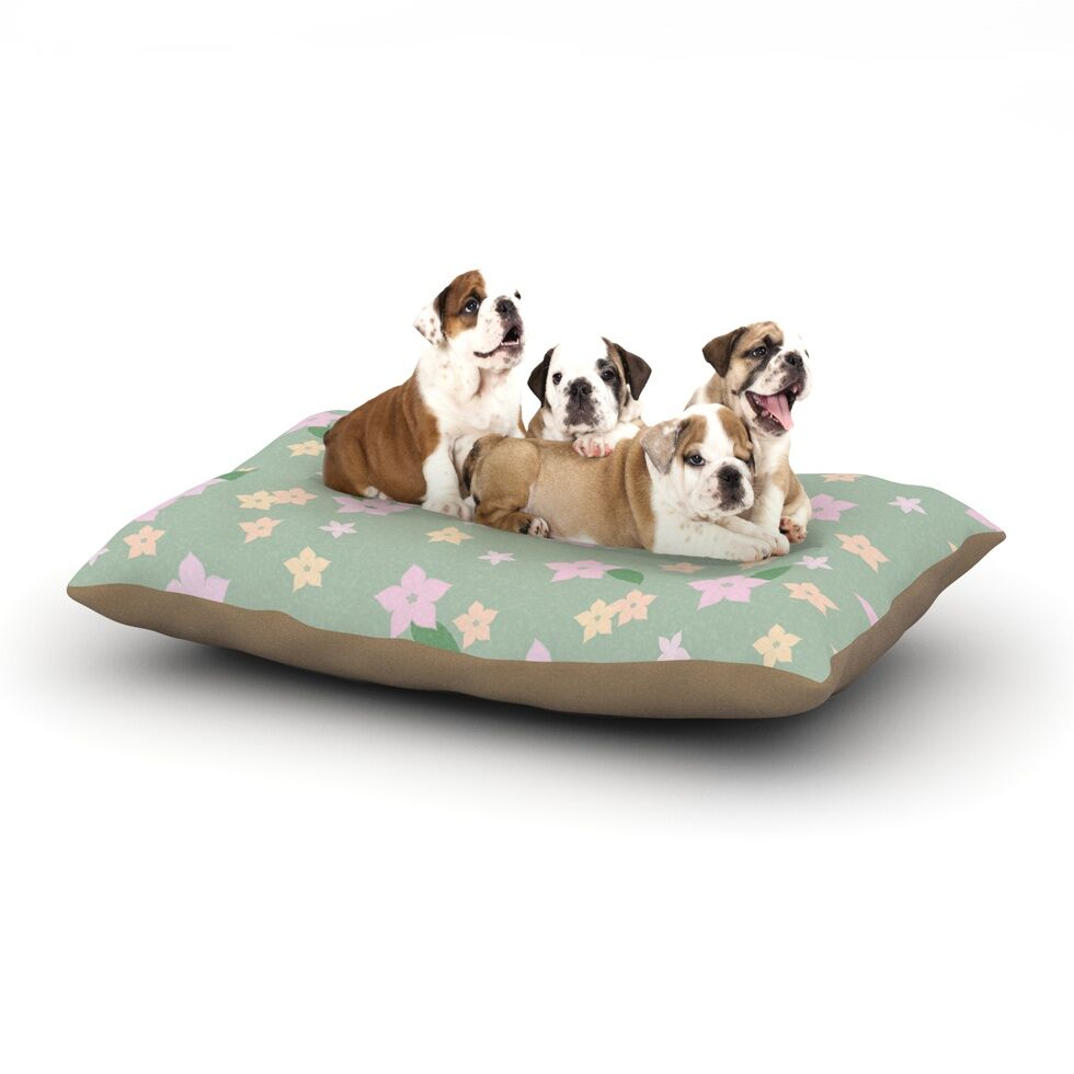 'Spring Floral' Dog Pillow with Fleece Cozy Top Size: Small (40