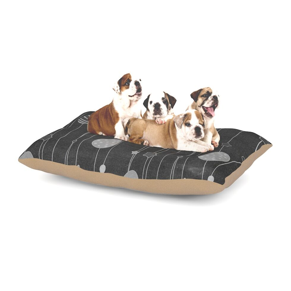 'Chalk Eggs Black' Eggs Dog Pillow with Fleece Cozy Top Size: Small (40