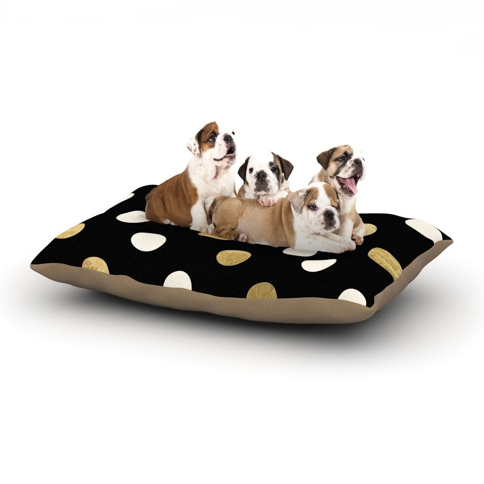 'Golden Dots' Dog Pillow with Fleece Cozy Top Size: Small (40