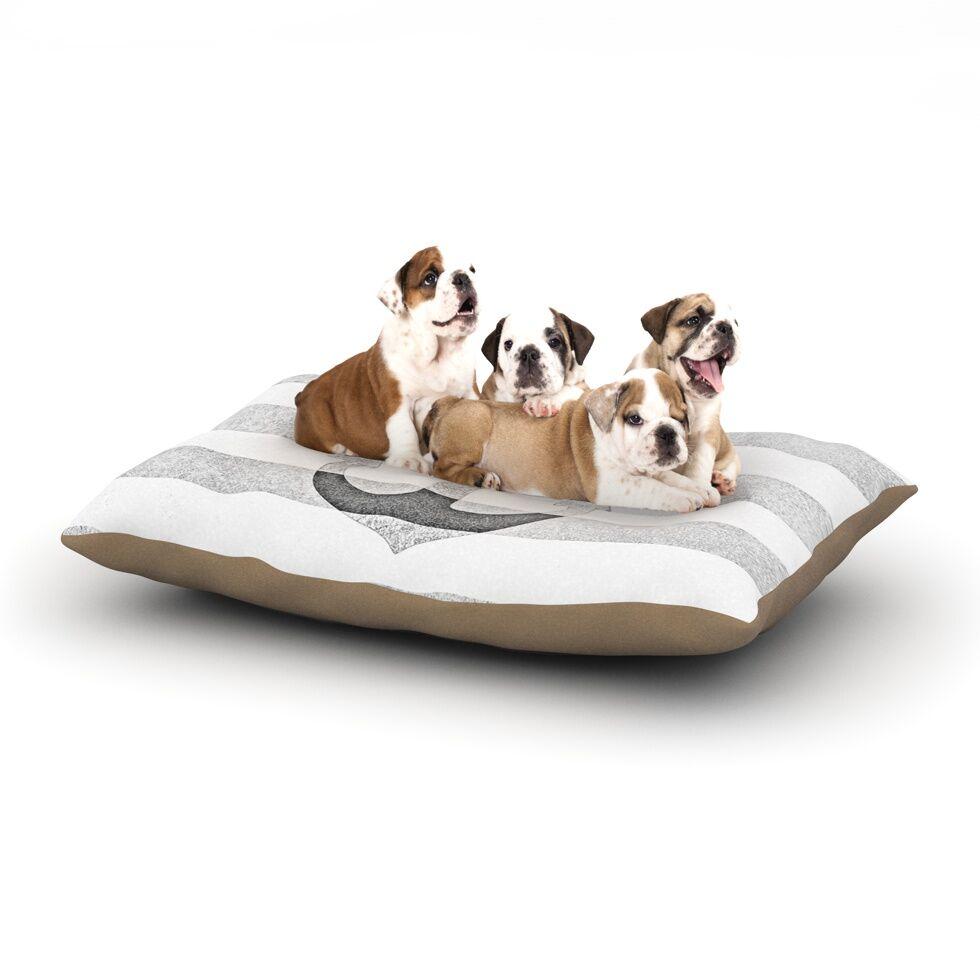 Monika Strigel 'Stone Vintage Anchor' Dog Pillow with Fleece Cozy Top Size: Small (40