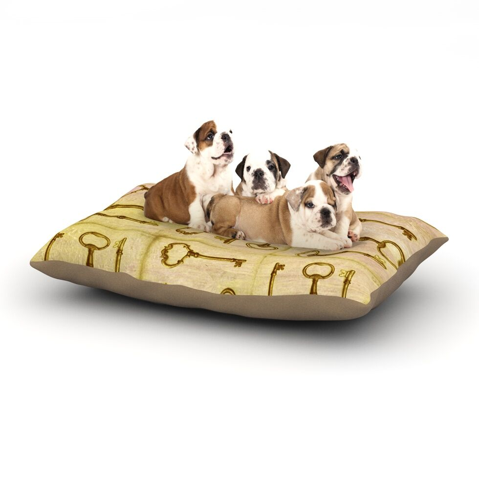 Marianna Tankelevich 'Secret Keys' Dog Pillow with Fleece Cozy Top Color: Tan/Brown, Size: Small (40