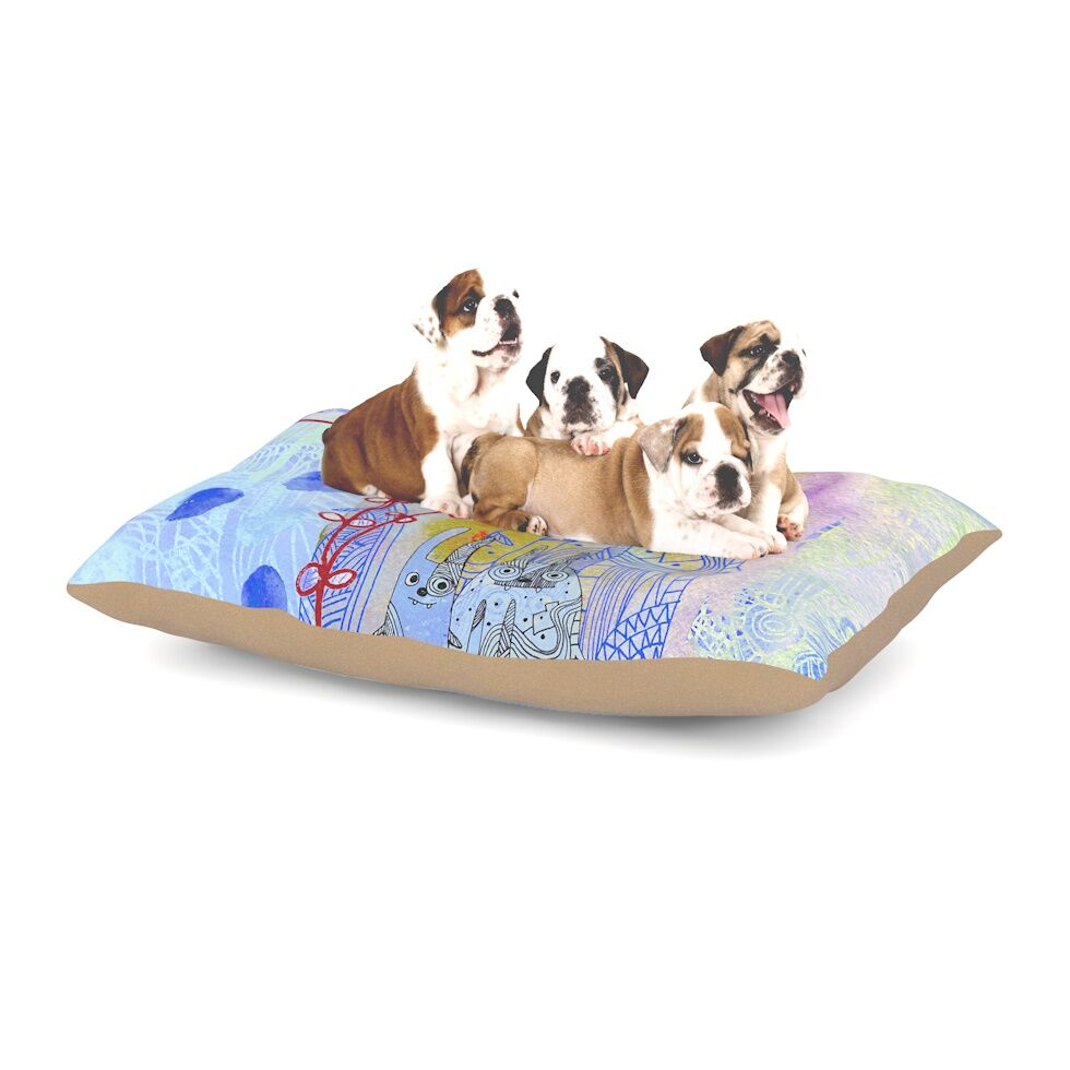 Marianna Tankelevich 'Composition with Bunnies in Blue' Abstract Rabbits Dog Pillow with Fleece Cozy Top Size: Small (40
