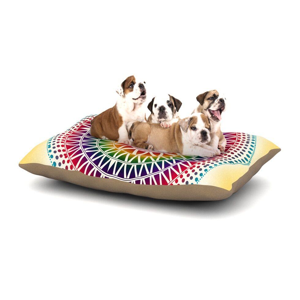 Famenxt 'Colorful Vibrant Mandala' Geometric Dog Pillow with Fleece Cozy Top Size: Small (40