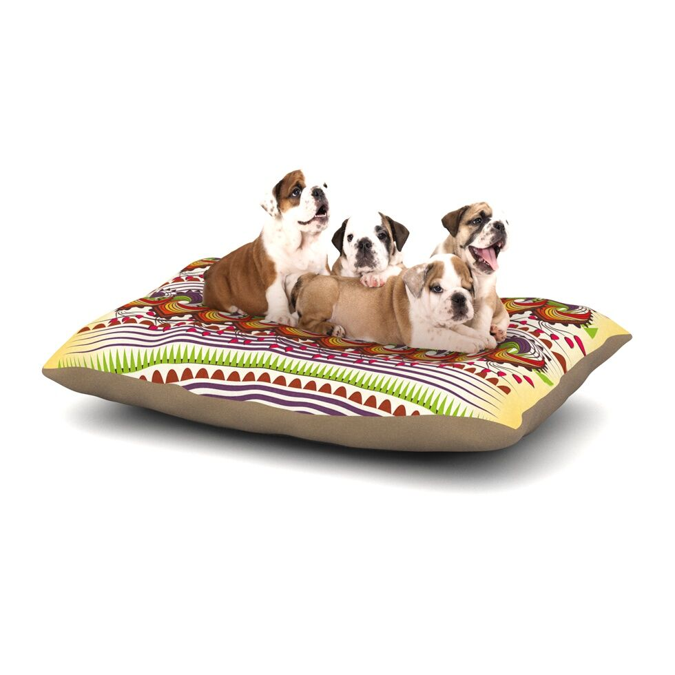 Famenxt 'Colorful Traditional' Digital Dog Pillow with Fleece Cozy Top Size: Small (40