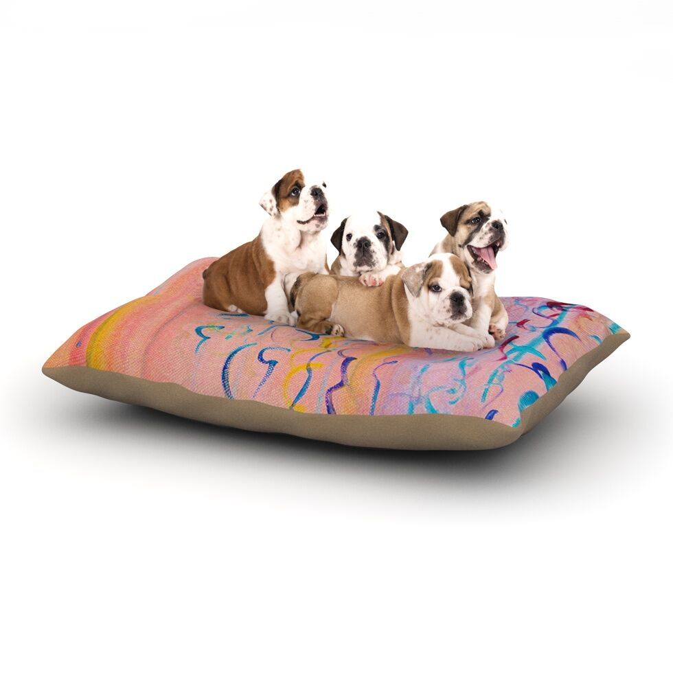 Ebi Emporium 'Cotton Candy Whispers' Painting Dog Pillow with Fleece Cozy Top Size: Small (40