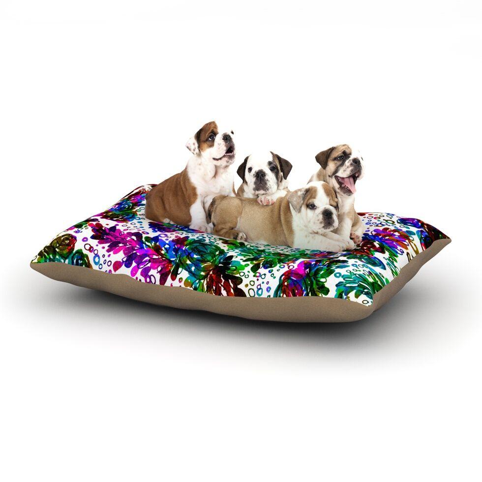 Ebi Emporium 'Prismatic Posy II' Floral Dog Pillow with Fleece Cozy Top Size: Small (40