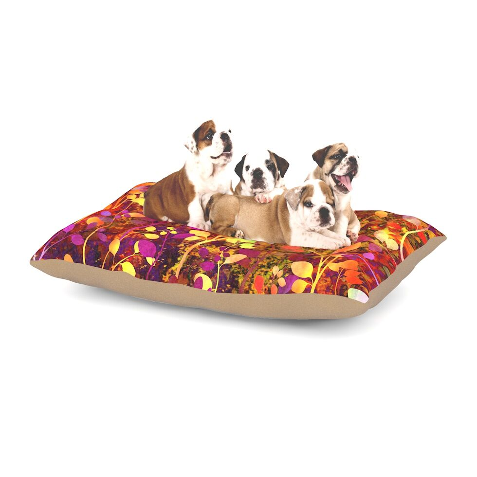 Ebi Emporium 'Amongst the Flowers - Warm Sunset' Dog Pillow with Fleece Cozy Top Size: Small (40