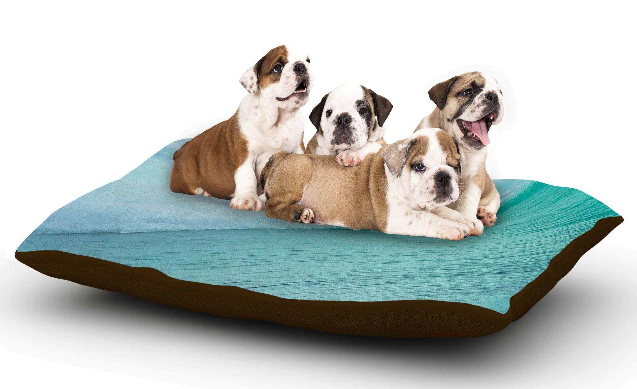 Susan Sanders 'Ocean Blue Wave' Dog Pillow with Fleece Cozy Top