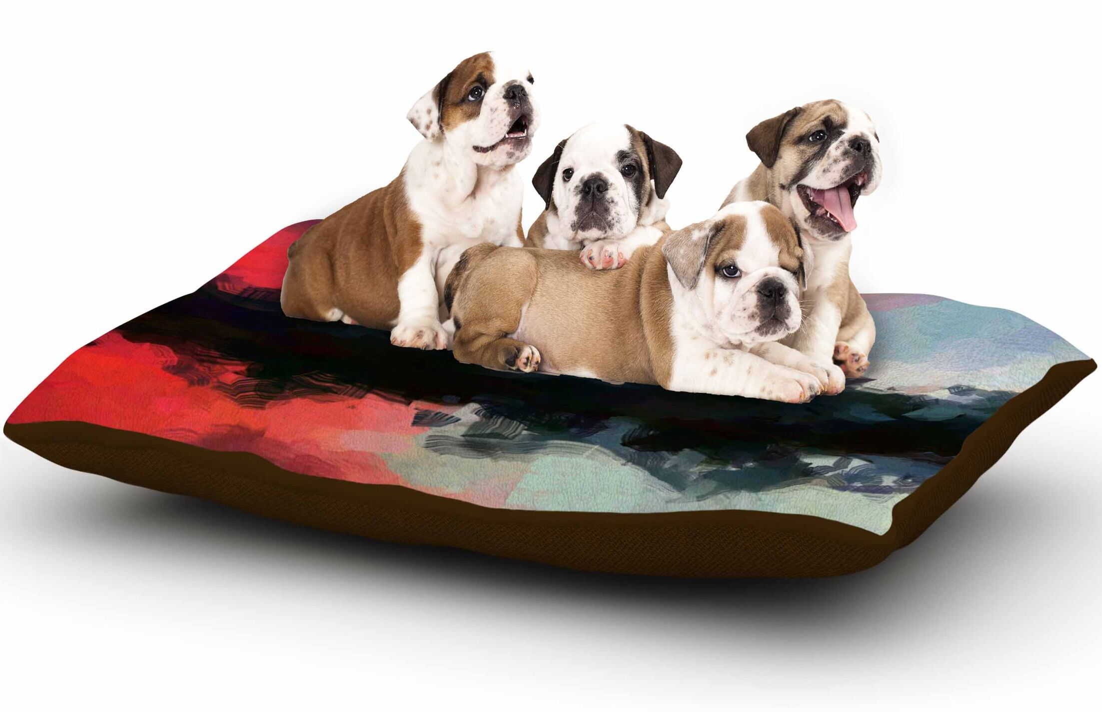 Oriana Cordero 'Days of Summer' Abstract Dog Pillow with Fleece Cozy Top Size: Small (40