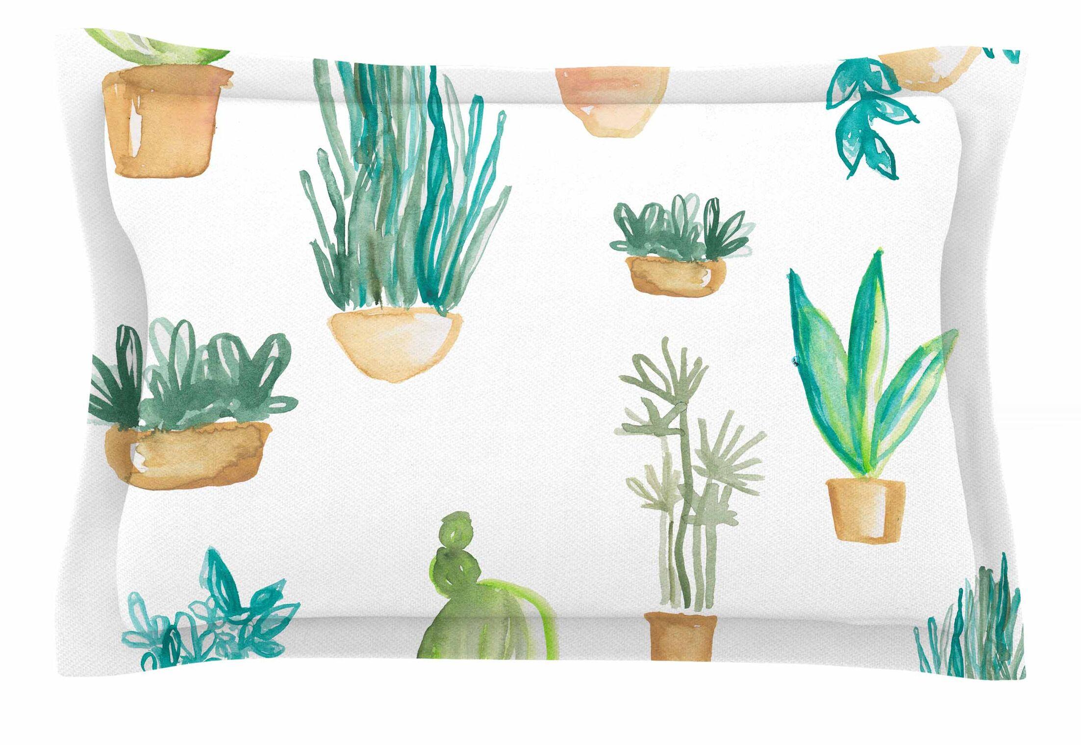 Jessi Blake 'Plants & Cacti' Illustration Sham Size: Queen