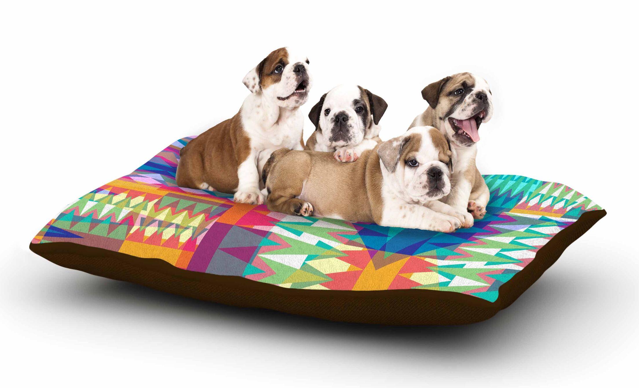Miranda Mol 'Triangle Quilt' Geometric Dog Pillow with Fleece Cozy Top