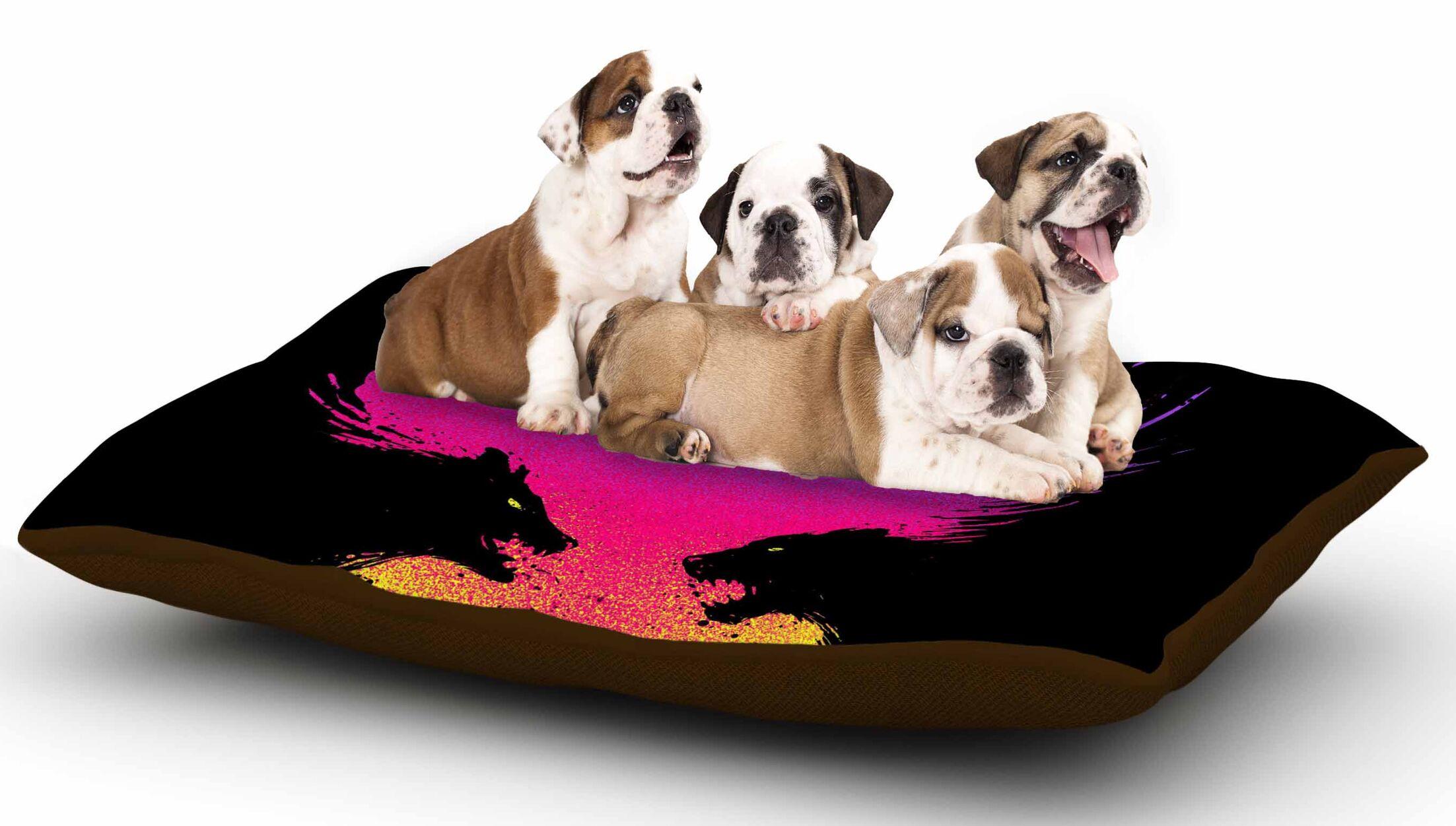 Barmalisirtb 'Wild Faces' Dog Pillow with Fleece Cozy Top
