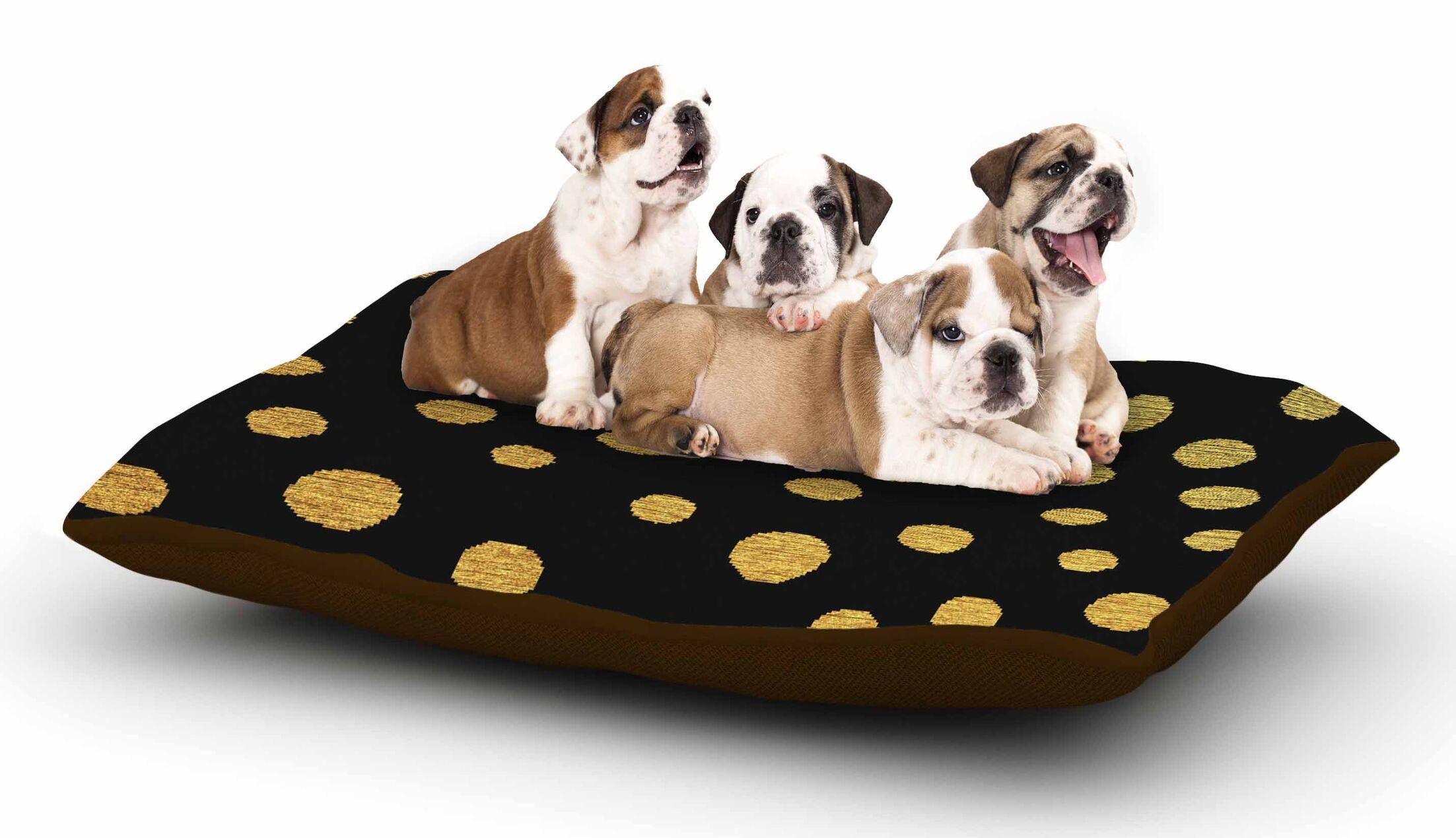 Nika Martinez 'Golden Dots in Black' Dog Pillow with Fleece Cozy Top